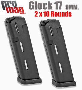 GLOCK 17 MAGAZINE 9mm 10 Round Mag Clip 2 PACK By Promag $35.98