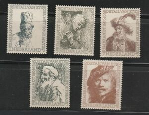 Netherlands B291 295 Rembrandt etchings set of 5 mint never hinged $6.00