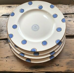 Made In Portugal Polka Dot DINNER Plates Blue Set of 4 New $59.99