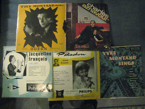 Lot of 5 vintage French 33 LPs Aznavour Montand 2 Patachou plus 1