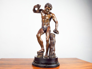 Antique 19th C Large Bronze Art Sculpture Satyr With Cymbals Duchemin Grand Tour $4500.00