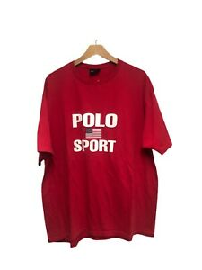Vintage Polo Sport T Shirt Big Flag Spellout Ralph Lauren Stadium 90's Sz XL $99.99
