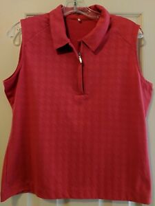 Womens NIKE Fit Dry Sleeveless Golf Polo Shirt Sz Large Red 1 4 zip $11.00