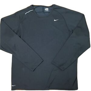 Nike Fit Dry Mens Large Athletic Active Top Long Sleeve Shirt Black Size Large L $14.00