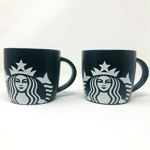 2017 Starbucks Mermaid Siren Black White Lot of 2 14 Oz Ceramic Coffee Cup Mugs