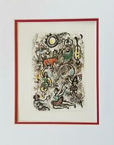 Marc Chagall The Tumblers Matted Offset Lithograph Limited Edition 1974 $49.00