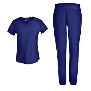 Stretch Women Nursing Scrubs Set V Neck Slim Mesh Scrubs Uniforms Set PS1115