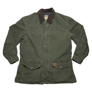 Carhartt Mens Distressed Arctic Quilt Lined Sandstone Jacket Moss Green Size XL