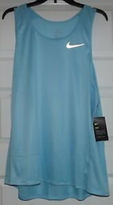 Nike Dry Fit Miler Tank Top Singlet Light Blue Running AT3947 496 Size XL $17.95
