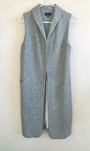 TOPSHOP Long Vest Womens Marled Gray with Pockets Comfortable Workwear Size 4 S $24.99