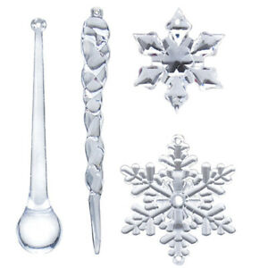 40PC Snowflake Icicle Christmas Ornaments New Year Ornaments Crystal Christmas