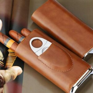 High Quality 3 Finger Humidors Portable Cigar Box Brown Cigar Leather Case $22.40