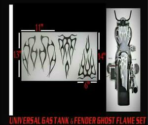 D2L UNIVERSAL MOTORCYCLE GAS TANK FENDER FLAME SET VINYL DECAL GRAPHIC FRE SHIP $24.29