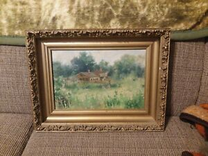 Antique Painting house in impressionist landscape unsigned oil canvas $140.00