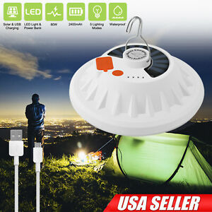 Bright Remote Control Solar LED Camping Lamp Rechargeable Light Bulb Tent Light