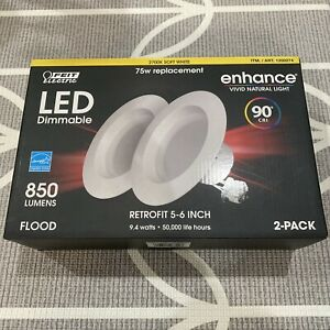 Feit Electric LED 2 Pack Recessed Downlights 5 6 Inch Kit Soft White Dimmable