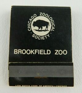 Brookfield Zoo Chicago Illinois Front Strike Unstruck Full Vintage Matchbook Ad