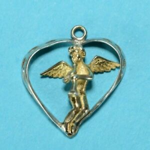 Vintage Sterling Silver Angle Heart Charm 925 2230 $22.00