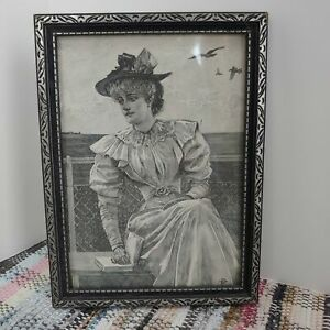 Print antique in wood frame