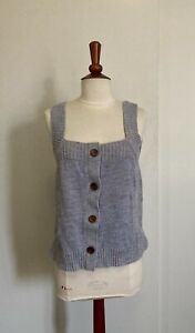 Madewell Womens Marled Rowe Button Front Sweater Blue Tank $24.99