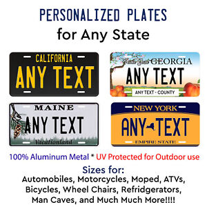 Any State License Plate Tag Personalized Custom Any Text Auto Car Bike Bicycle $14.99