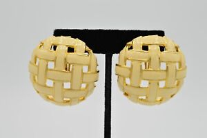 Les Bernard Signed True Vintage Statement Earrings Weaved Cream Enamel 80s 9I $41.21