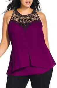City Chic Plus Womens Layered Motif Lace Detail Tiered Top M 18W Cerise $19.99