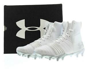 Under Armour Football Cleats Boys C1N Molded Shoes White 3000192 Size 2Y $29.99