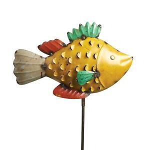 ART amp; ARTIFACT Fish Garden Stakes Recycled Metal Outdoor Patio Lawn Ornament $32.84