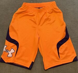Under Armour Shorts Youth Orange Navy L Large $5.50