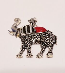 NWT Elephant Silver Tone Faux Red Turquoise Boho Style Pendent $3.50