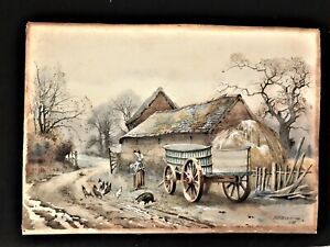 Antique Original William White Warren Watercolor quot;Study at Old Farmsteadquot; 1888 $225.00