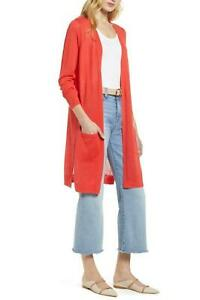 HALOGEN Long Linen Blend Cardigan In Red Hibiscus Size PS Retail $68 Open Front $21.21