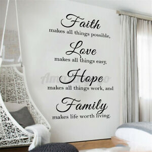 Faith Love Family Wall Art Stickers Living Room Inspirational Quote Saying Decal $8.69