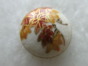 ANTIQUE SATSUMA BEAUTIFUL MAPLE LEAVES DESIGN SMALL PORCELAIN BUTTON 9 16