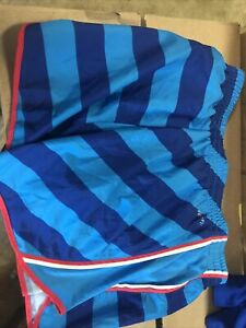 Ladies Nike Dry Fit Shorts Small Running Shorts blue striped cute Built In Panty $9.28
