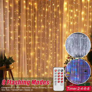 Curtain Fairy Hanging String Fairy Lights USB Wedding Bedroom Party Home Decor $13.95