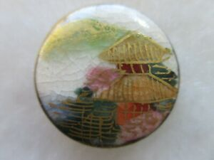 ANTIQUE VERY SCARCE JAPANESE SATSUMA MT FUJI PICTURE BUTTON 3 4 Signed JAPAN