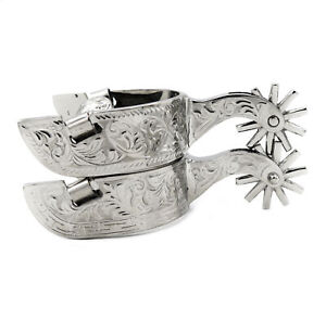 Cowboy Stainless Steel Spurs Engraved Western Spurs