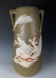 Large Antique Japanese Satsuma Pottery Moriage Dragon Vase With Handles Meiji