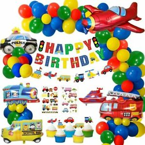 Construction Party Decorations Boys Happy Birthday Banner Transport Vehicles F