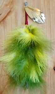 TROTHE 9quot; MARABOU Musky BUCKTAILS BASS color #9 Fluted Indiana GOLD blade