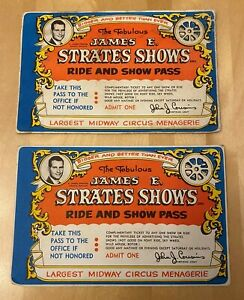 TWO JAMES E. STRATES SHOWS RIDE amp; SHOW PASS