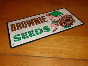 VINTAGE ANTIQUE ORIGINAL quot;BROWNIE SEEDSquot; ELF 16quot; METAL FEED GASOLINE OIL SIGN $499.99