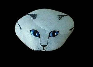 ANTIQUE SIGNED SOLACE MC HAND PAINTED KITTEN CAT ON WHITE ROCK $85.95