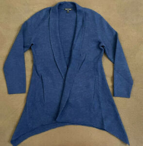 Womens EILEEN FISHER Blue Merino Wool 3 4 Sleeve Long Cardigan Sweater Medium $29.99