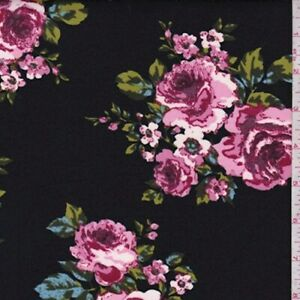 Black Orchid Pink Floral Scuba Knit Fabric By The Yard $12.45