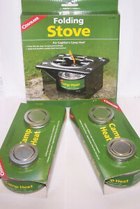 COGHLAN#x27;S FOLDING STOVE AND 4 STERNO FUEL CANISTERS CAMP HEAT STURDY LIGHT WARM