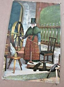 1909 Welsh Costumes Frith Series Woman Spinning Loom Hat Posted Postcard