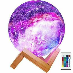 16 Color Moon Galaxy Lamp USB Night Light Dimmable LED 3DRemote 7.3 18.5 cm